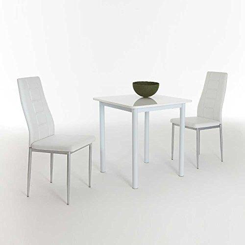Pharao24 Sitzgruppe für Küche Weiß Hochglanz (3-Teilig)