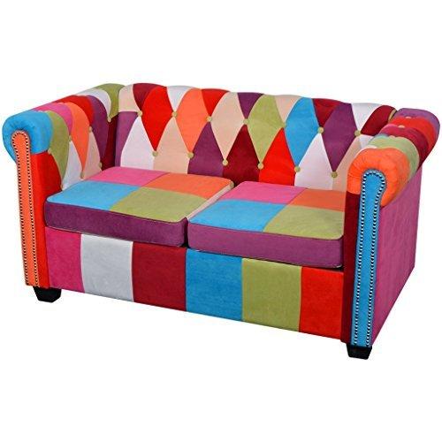 vidaXL Chesterfield Sofa 2/3-Sitzer Loungesofa Couch Stoffsofa Polstersofa Stoff Design