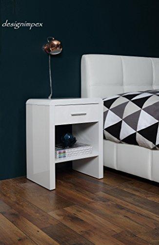 Design Nachttisch Boxspringbett Nachtkommode SN-1 weiß Hochglanz NEU