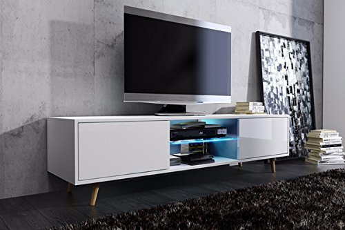 tv schrank lowboard sideboard tisch m bel board rivano mit led beleuchtung wei matt wei. Black Bedroom Furniture Sets. Home Design Ideas