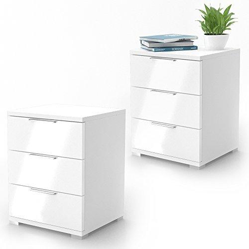 Nachtschrank Kommode Nachttisch Schrank Schublade Ablage Schlafzimmer 2er Set Weiß Hochglanz