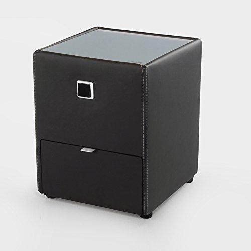 Design Nachtkommode ALEXANDRIA für Boxspringbetten schwarz mit Schublade indirekte Beleuchtung