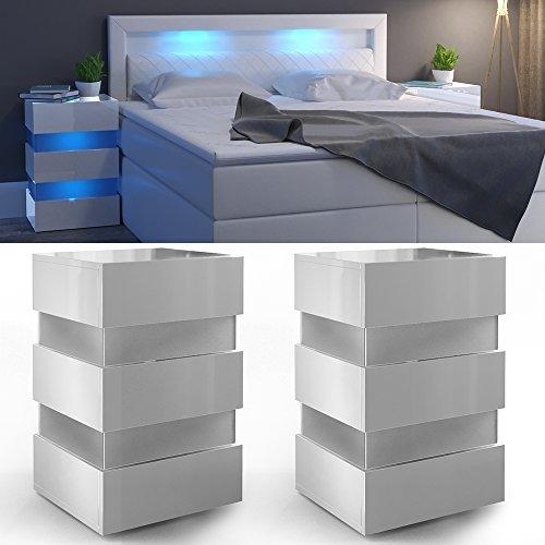 2x Nachttisch Set LED 70cm hoch für Boxspringbett Weiß Hochglanz Nachtkommode Nachtschrank Kommode Schrank Schublade - RGB - inkl. Fernbedienung