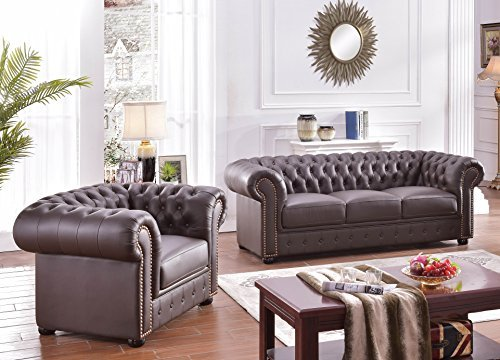 Chesterfield Ledersofa Ledercouch Chesterfield-3+1-377