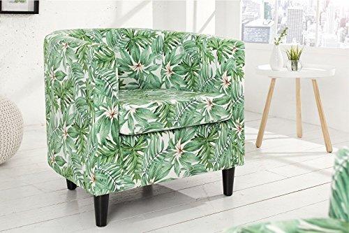 DuNord Design Sessel Clubsessel PROVENCE grün Blätter Retro Design Floral Möbel Polstersessel