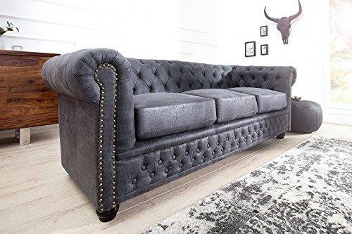 DuNord Design Sofa Couch CHESTERFIELD 3er grau antik look Mikrofaser Design Polster Möbel