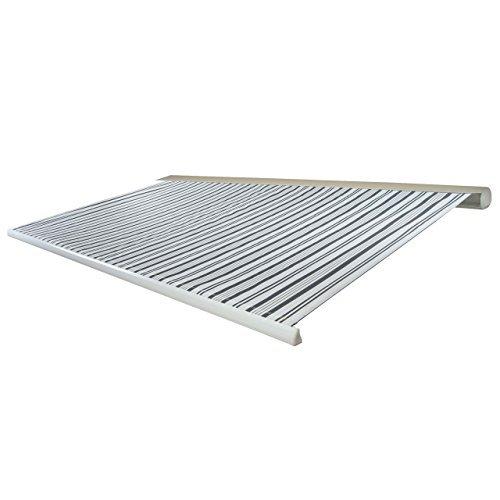 Mendler Elektrische Kassettenmarkise T123, Markise Vollkassette 4,5x3m ~ Polyester Grau/Weiß