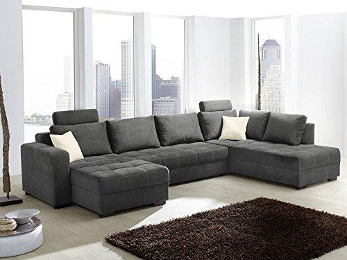 Expendio 44848399 Wohnlandschaft Schlafsofa, Stoff, grau, 357 x 222 x 100 cm