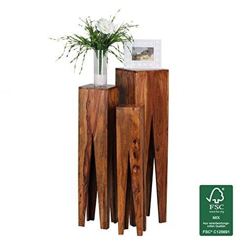 Finebuy Massivholz Beistelltische 3er Set