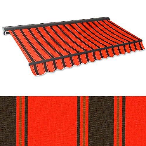 Kassetten-Markise 3 x 2,5 m orangerot-schwarz (Profilfarbe: Anthrazit) Hülsenmarkise Gelenkarmmarkise Sonnenschutz