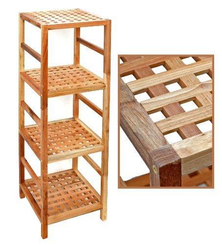ts-ideen Regal Standregal Hochregal 117 cm aus Walnuss Massivholz für Bad, Wohnzimmer, Sauna, Flur, Diele, Küche, Büro und Kinderzimmer