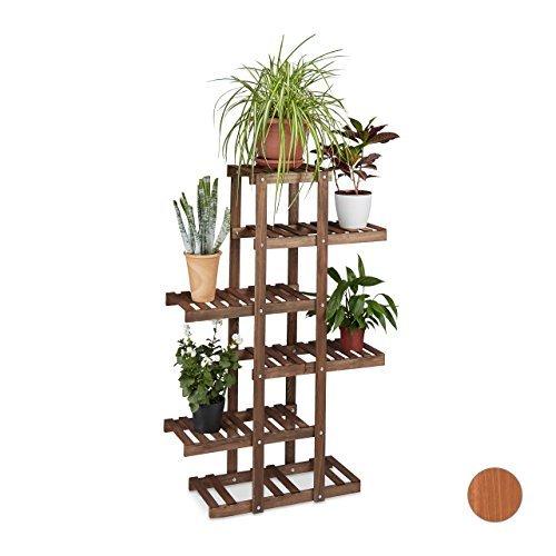 Relaxdays Blumenregal aus Holz, 5 Ebenen, Blumenständer für innen, Mehrstöckig, HBT: ca. 125 x 81 x 25 cm, verschiedene Farben