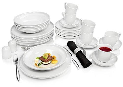 Rosenthal Kombiservice 'Bianchi' aus Porzellan für 6 Personen 30 teilig Tafelservice Essservice | Beinhaltet Teller, Tassen sowie Untertassen | Hochwertige Qualität