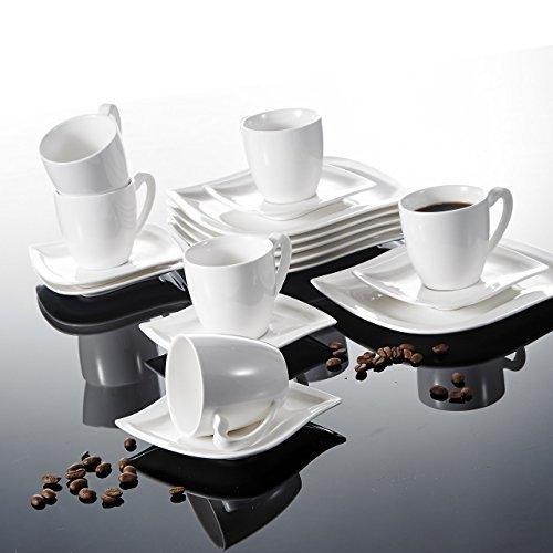 Malacasa, Serie Elvira, 18 tlg. Set Cremeweiß Porzellan Kaffeeservice Geschirrset Tafelservice mit Kuchenteller, 230ml Tasse, Untertasse Geschirr für 6 Personen