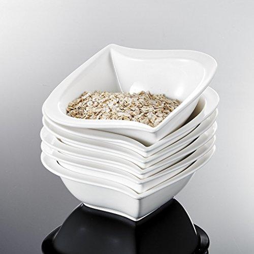 Malacasa, Serie Elvira, 6 tlg. Set Cremeweiß Porzellan 5,5 Zoll / 13,5*13,5*5cm Schüssel Schalen Müslischüssel Reisschüssel Salatschüsseln Dessertschalen Bowl für 6 Personen
