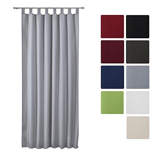 Beautissu Fenster Vorhang Schlaufen-Vorhang Amelie - 140x245 cm Grau - Dekorative Gardine Schlaufenschal Fenster-Schal