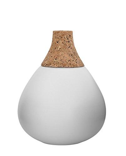 Bloomingville Vase, Matte White/Nature mit Kork Ø18xH22,5 cm