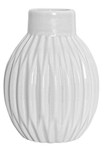 Bloomingville Vase geriffelt matt weiß Blumenvase skandinavisch Porzellan Höhe 11 cm