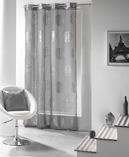 DOUCEUR D'INTERIEUR Douceur D'Intérieur - 1623226, Gardine Mit Osen, 140 X 240 Cm, Platine, Voile Bedruckt Silber, Grau