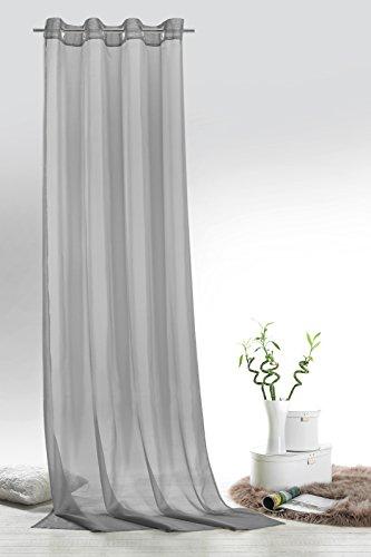 Fashion&Joy - Ösenschal Voile grau HxB 245x140 cm - transparent einfarbig - Dekoschal Gardine Typ418
