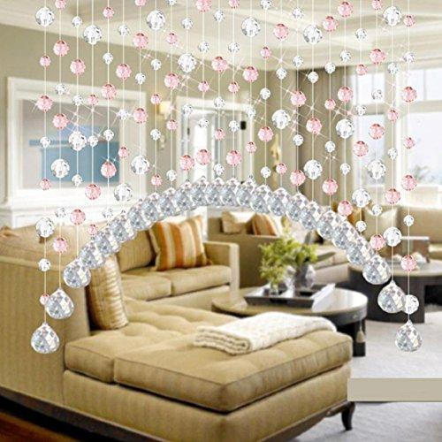 LCLrute Kristall Glas Perle Gardinen Luxus Wohnzimmer Schlafzimmer Fenster Tür Hochzeit Dekor (Rosa)