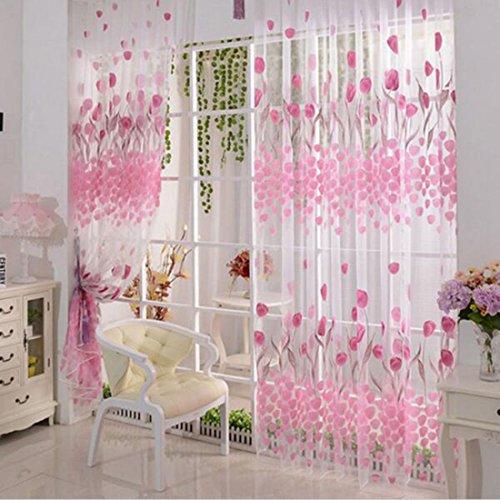 Rosa Tulpe Printed Tüll Vorhangstoffe Sheer Panel amerikanische Land Art