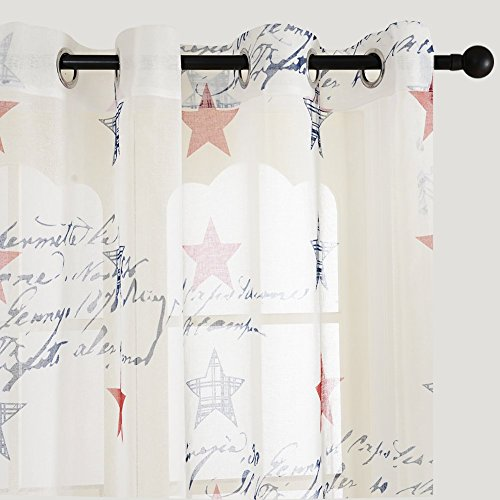 Top Finel Amerikanische glück Stern halbtransparent, Super Design,Fensterschal Ösenschal, Öse Gardine 140x160cm