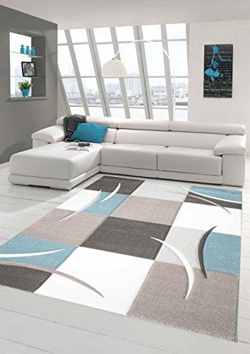 Designer Teppich Moderner Teppich Wohnzimmer Teppich Kurzflor Teppich mit Konturenschnitt Karo Muster Pastellfarben Blau Creme Beige Dunkelgrau Größe 160x230 cm