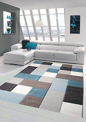 Teppich-Traum Designerteppich Moderner Teppich Wohnzimmerteppich Kurzflor mit Konturenschnitt Öko-Tex in Grau Türkis Weiß, Größe 120x170 cm