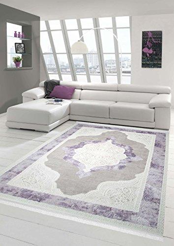 Teppich-Traum Designerteppich Moderner Teppich Wohnzimmerteppich Wollteppich mit Bordüre und Ornamente in Grau Beige Lila, Größe 80x150 cm