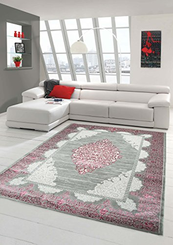 Teppich-Traum Wollteppich Designerteppich Moderner Teppich Wohnzimmerteppich Orientteppich mit Ornamente Meliert in Grau Rose, Größe 160x230 cm