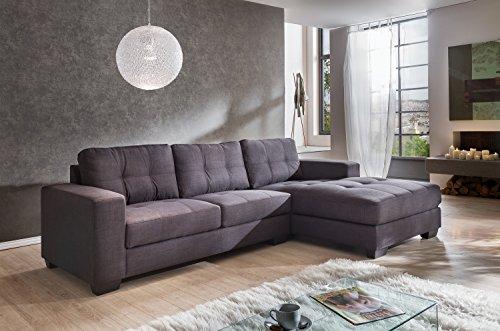 SAM® Ecksofa Garnitur Aviano Stoff-Polstergarnitur in grau, Ottomane rechts, Sofa im abgesteppten Design, pflegeleichte Oberfläche, sehr hoher Sitzkomfort, ca. 270 x 165 cm