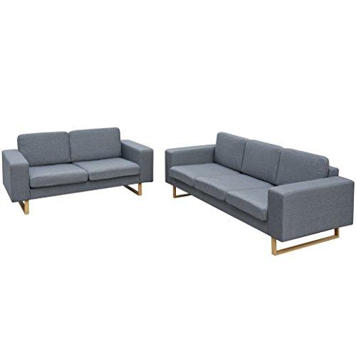 vidaXL Sofa Polstersofa 5-Sitzer Stoffsofa Loungesofa Couch Wohnzimmer Möbel Hellgrau