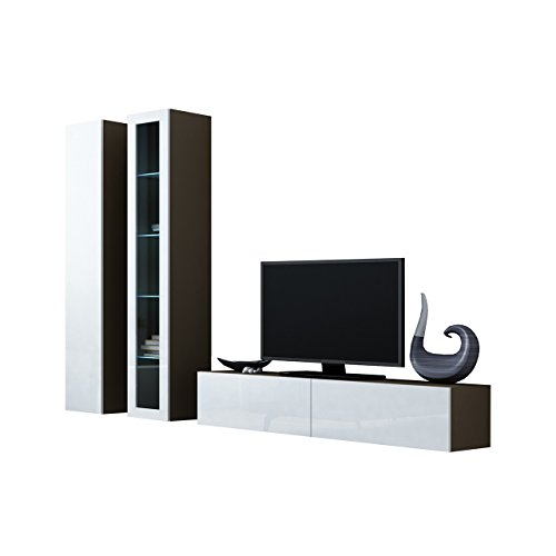 Wohnwand VIGO X Anbauwand Modernes Wohnzimmer set, Mediawand, Glasvitrine, Hängeschrank TV-Schrank (mit blauer LED Beleuchtung, Latte / Weiß Hochglanz)