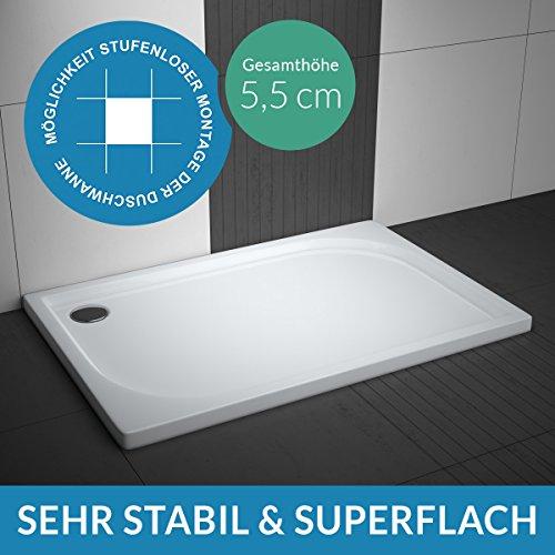 Duschwanne / Duschtasse AQUABAD® Comfort Praktica | Maße: 80x120cm rechteckig | Sehr stabil und flach