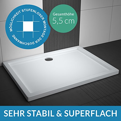 Duschwanne AQUABAD® Comfort Villa Flat 80x140cm Flach Rechteck