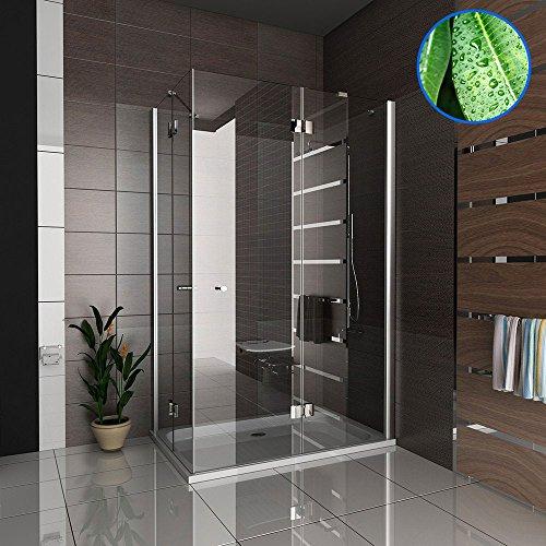 Hochwertige Eckeinstieg Duschkabine mit Nano Beschichtung aus ESG Glas 90x120 cm (Drehtür mit Festfeld)