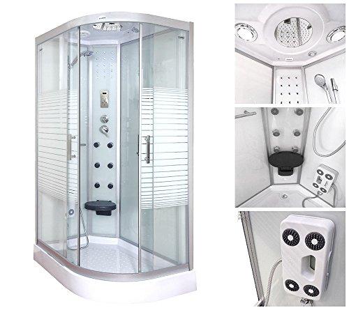 Home Deluxe White Pearl 120x80 cm rechts Duschtempel, inkl. Dampfsauna und komplettem Zubehör