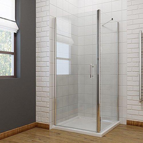Neueröffnung 900x900mm Duschkabine Rechteck Eckeinstieg Rahmenlos Schwingtür + Seitenwand