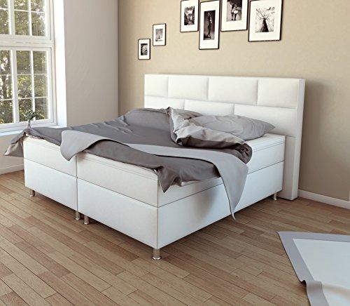 SAM® Design Boxspringbett Bob in Weiß, Kunstlederbezug, Box mit Bonellfederkern, 7-Zonen Taschenfederkernmatratze, Viscoschaum-Topper, FSC® 100 % zertifiziert, 180 x 200 cm