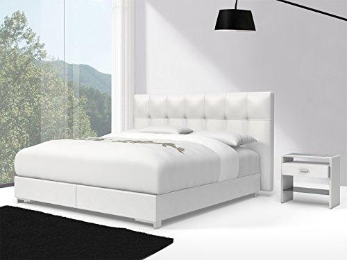 SAM® Design Boxspringbett Zadar Toronto weiß mit 7-Zonen H2 Taschenfederkern-Matratze und Chrom-Füßen, 180 x 200 cm