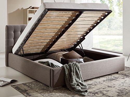 Bett mit Bettkasten Grau Polsterbett Lattenrost Doppelbett Jimmy 140 160 180x200 (160 x 200 cm)