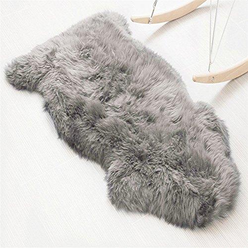 Faux Lammfell Schaffell Teppich (60 x 90 cm) Lammfellimitat Teppich Longhair Fell Optik Nachahmung Wolle Bettvorleger Sofa Matte
