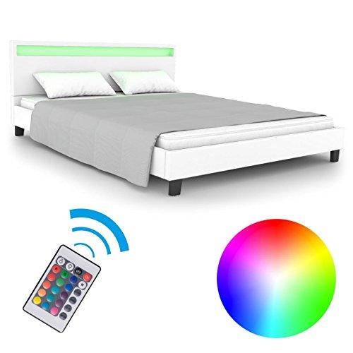Homelux LED Bett PU Polsterbett Doppelbett Kunstlederbett Bettgestell Bettrahmen 180 x 200 cm Weiss