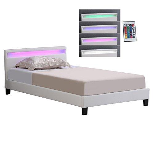 CARO-Möbel Polsterbett Einzelbett Kunstlederbett MIRASOL, in weiß, mit LED Beleuchtung, 120 x 200 cm, inklusive Rollrost