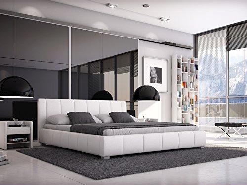 SAM Polsterbett 180x200 cm Leon, weiß, Bett mit gepolstertem, hohen Kopfteil, modernes Design