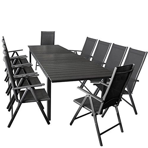 11er Gartenmöbel Set ausziehbarer Aluminium Gartentisch mit Polywood-Tischplatte 280/220x95cm Schwarz + 10x Hochlehner mit 2x2 Textilengewebe, Rückenlehne 7-fach verstellbar
