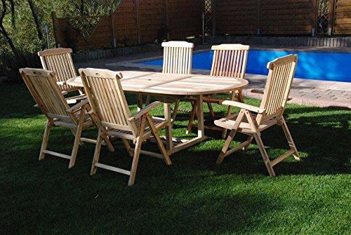 SAM® Teak Holz Gartengruppe Gartenmöbel 7 teilig, Sitzgruppe bestehend aus 1 x Tisch und 6 x Hochlehner, zusammenklappbare Stühle, einfach zu verstauen [521418]