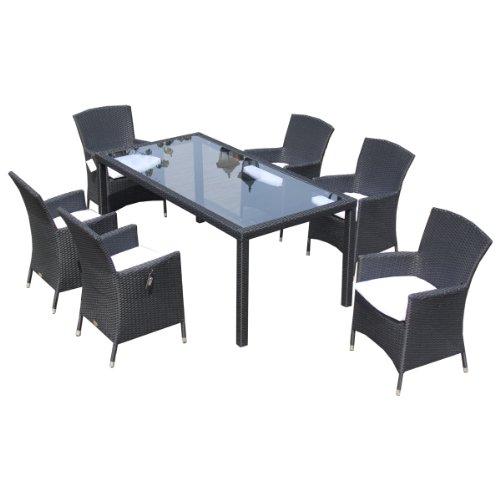 Ambientehome Polyrattan Sitzgruppe Essgruppe Ledo, schwarz, 7-teiliges Set