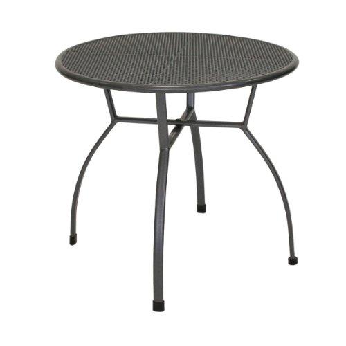 greemotion Tisch Toulouse eisengrau, runder Gartentisch aus kunststoffummanteltem Stahl, Tisch mit Niveauregulierung, witterungsbeständig und pflegeleicht